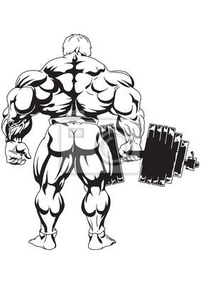 Bodybuilder die Ansicht von der Rückseite