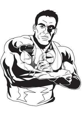 Bodybuilder faltete die Hände auf der Brust