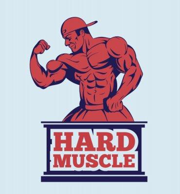 Sticker Bodybuilder Fitness-Modell posieren Logo. Muskel-Mann-Emblem