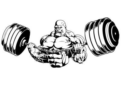 Sticker Bodybuilder flex schwere barbell, Illustration, Logo, Tinte, schwarz und weiß, Kontur, isoliert auf einem weißen