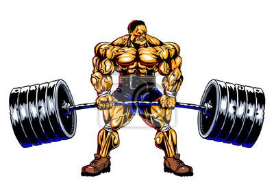Bodybuilder führt eine Übung mit einem Barbell, Vektor, Illustration, Farbe, lokalisiert auf einem Weiß durch
