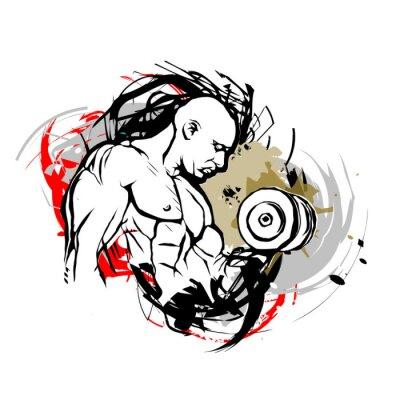 Sticker Bodybuilder illustration