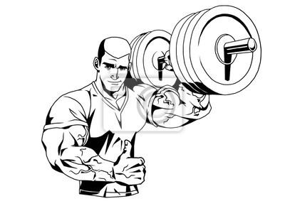 Bodybuilder in T-Shirt und Langhantel, Illustration, Logo, Tinte, schwarz und weiß, Kontur, isoliert auf einem weißen