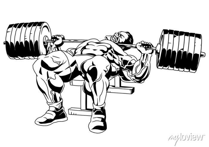 Sticker bodybuilder in training