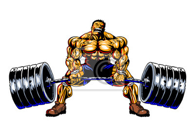 Bodybuilder mit Barbell Kreuzheben, Vektor, Illustration, Farbe, isoliert auf einem weißen