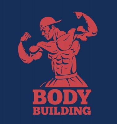 Sticker Bodybuilder muskelmann fitness modell posieren logo. Bodybuilder zeigt Muskeln Bodybuilding-Emblem