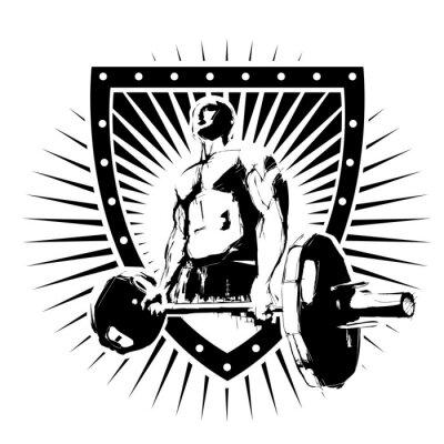 Sticker Bodybuilder Schild