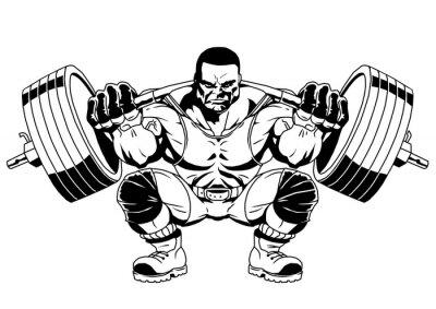 Bodybuilder Sport, Illustration, Logo, Farbe, isoliert auf einem weißen