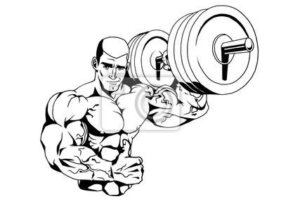 Bodybuilder und barbell, Illustration, Logo, Tinte, schwarz und weiß, Kontur, isoliert auf einem weißen