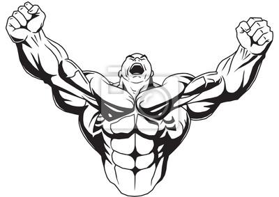 Bodybuilder wirft muskulösen Armen