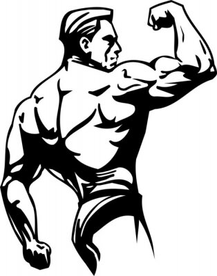 Sticker Bodybuilding und Kraftdreikampf - Vektor-Illustration.