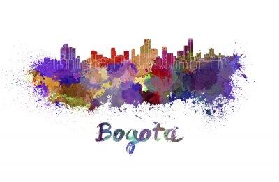 Sticker Bogota Skyline in Aquarell