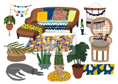 Bohemian furniture. Colored vector set. All elements are isolated