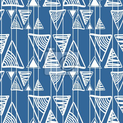 Bohemian hand drawn triangle abstract pattern