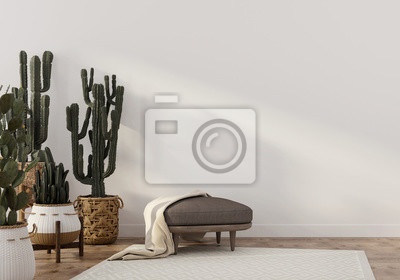 Sticker Boho-style interior with leather pouf and cacti