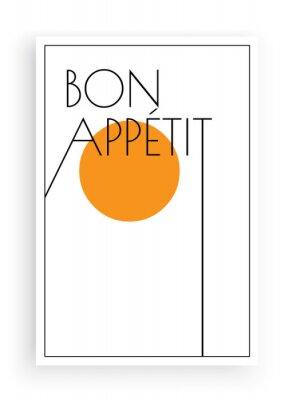 Bon appetit, vector. Scandinavian art design. Minimalist poster design. Wall art work, wall decoration. Wording design, lettering
