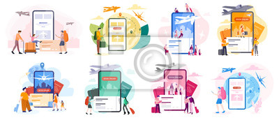 Sticker Book flight online concept. Idea of travel and tourism. Planning