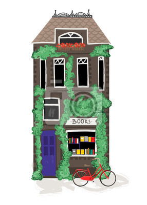 Book store house and bicycle. Hand drawn vector illustration