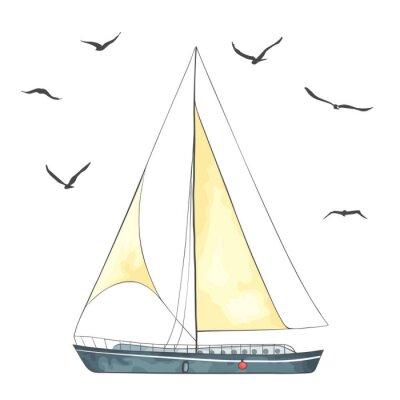 Sticker Boot mit Segeln und Möwen, die in den Vektor