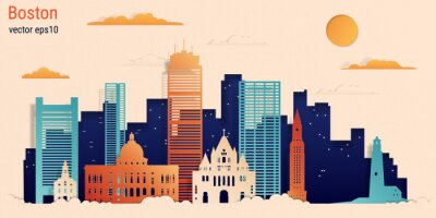 Boston city colorful paper cut style, vector stock illustration. Cityscape with all famous buildings. Skyline Boston city composition for design.