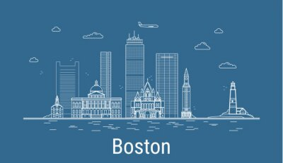 Boston city, Line Art Vector illustration with all famous buildings. Linear Banner with Showplace. Composition of Modern buildings, Cityscape. Boston buildings set.