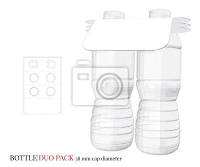 Bottle Duo Pack Illustration, Vector with die cut / laser layers. White, clear, blank, isolated  Bottle Duo Pack on white background. Packaging Design, 3D presentation