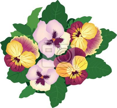 Sticker Bouquet von bunten Blumen Stiefmütterchen