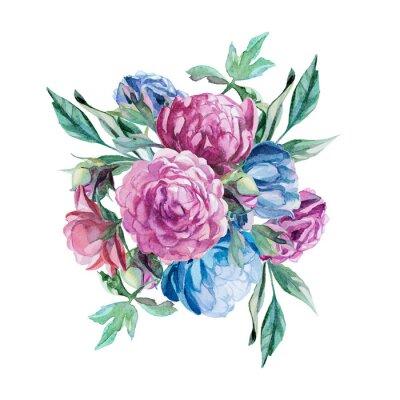 Sticker Bouquet von Pfingstrosen isoliert auf weißem Hintergrund