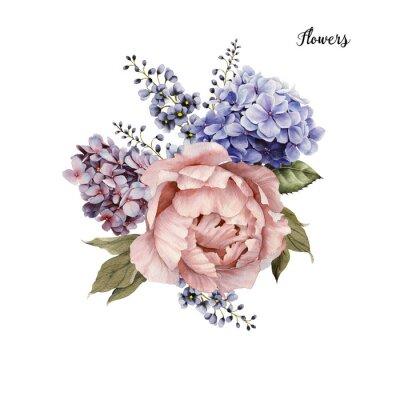 Sticker Bouquet von Rosen, Aquarell, können als Grußkarte, Einladungskarte für die Hochzeit, Geburtstag und anderen Urlaub und Sommer Hintergrund verwendet werden.