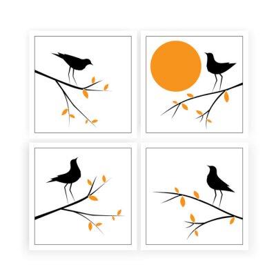 Branch illustration with birds silhouettes on sunset, vector. Scandinavian minimalist art design. Four pieces poster design, artwork. Nature Art Design, Wall Decor, artwork.