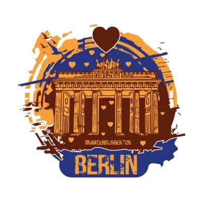 Brandenburg gate, Berlin / Germany city design with love hearts. Hand drawn illustration.