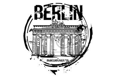 Brandenburger Tor, Berlin. Deutschland Stadt Design. Hand gezeichnete Illustration.