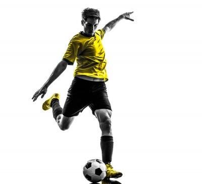 Sticker brasilianischen Fußball-Football-Spieler treten junge Mann Silhouette