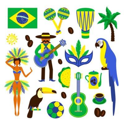 Sticker Brasilien dekorativen Satz