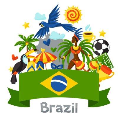 Sticker Brasilien Hintergrund mit stilisierten Objekten und kulturellen Symbolen