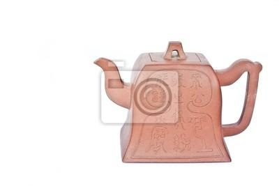 braune Teekanne auf weißem Hintergrund