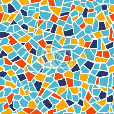 Sticker Bright abstract mosaic seamless pattern. Vector background. Endless texture. Ceramic tile fragments.