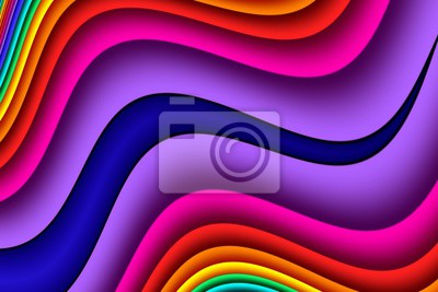 Sticker Bright rainbow wavy abstract background. Artwork for creative design and art.