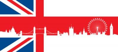 Sticker Britische Flagge mit sehr detaillierte Silhouette Skyline von London