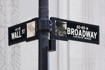 Sticker Broadway uns Wall Street in New York