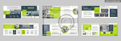 Sticker Brochure creative design. Multipurpose template with cover, back and inside pages. Trendy minimalist flat geometric design. Horizontal landscape a4 format.
