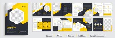 Sticker Brochure template layout design, minimal business brochure orange color shape design, annual report, company profile, editable template layout.