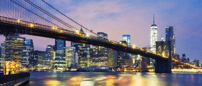 Sticker Brooklyn-Brücke in der Abenddämmerung