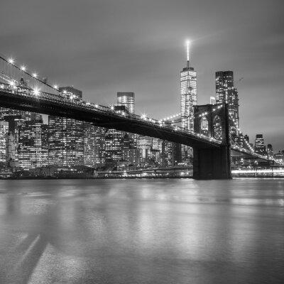 Sticker Brooklyn-Brücke in der Dämmerung, New York City.