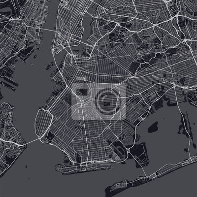 Brooklyn map. Dark map of Brooklyn borough (New York, United States). Highly detailed map of Brooklyn with water objects, roads, railways, etc.