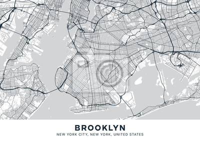 Brooklyn map. Light poster with map of Brooklyn borough (New York, United States). Highly detailed map of Brooklyn with water objects, roads, railways, etc. Printable poster.