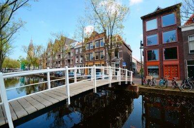 Sticker Brücke über die Kanäle von Delft, Niederlande