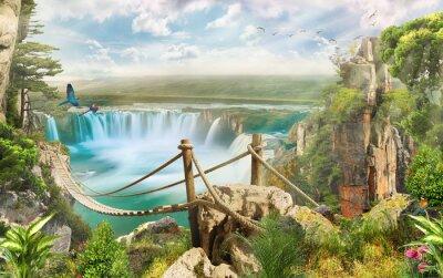 Sticker Brücke über Wasserfall