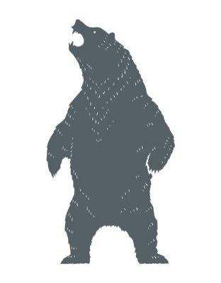 Sticker Brüllender Bär Silhouette