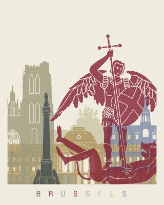 Sticker Brüssel Skyline Poster